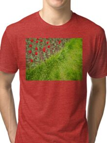 Red Tulips and Green Grass Tri-blend T-Shirt