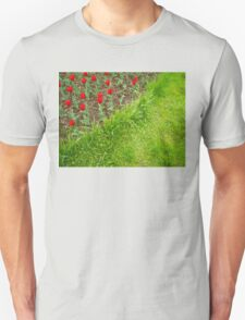 Red Tulips and Green Grass Unisex T-Shirt