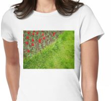 Red Tulips and Green Grass Womens Fitted T-Shirt