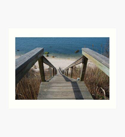 The Beach Stairs Art Print
