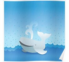 Humpback whale on an ocean so blue Poster