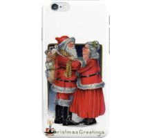 Vintage Christmas Greetings from Mr and Mrs Claus iPhone Case/Skin