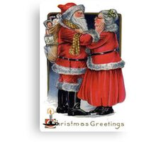 Vintage Christmas Greetings from Mr and Mrs Claus Canvas Print