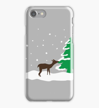 Deer in the snowy forrest iPhone Case/Skin