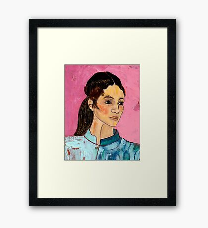 Woman in a Blue Jacket Framed Print