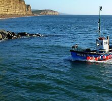 Boat Coming In To West Bay Harbour by lynn carter