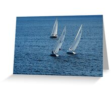 Into The Wind - Crisp White Sails On a Caribbean Blue Greeting Card