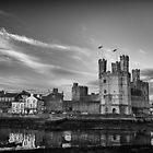 Caernarfon Castle Monochrome by Quattrophoto