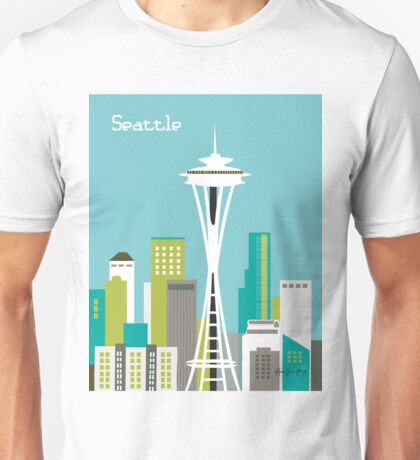 Seattle, Washington - Skyline Illustration by Loose Petals Unisex T-Shirt