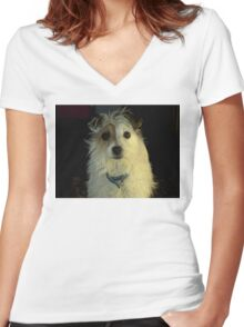 Portrait Of A Terrier Women's Fitted V-Neck T-Shirt