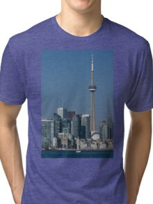 Up Close and Personal - CN Tower, Toronto Harbor and the City Skyline From a Boat Tri-blend T-Shirt