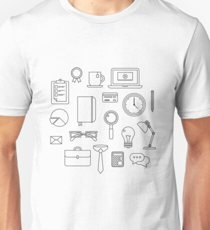 Office Icons Set in Flat Style Unisex T-Shirt