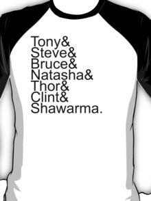 Avengers Shawarma Jetset, BLACK T-Shirt