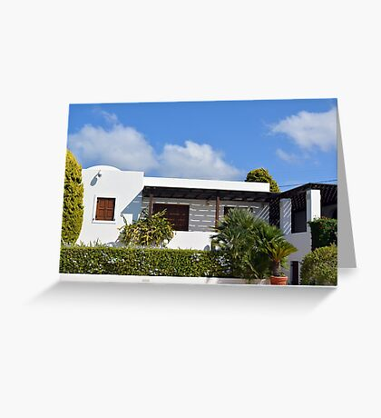 Modern simple white house and vegetation Greeting Card
