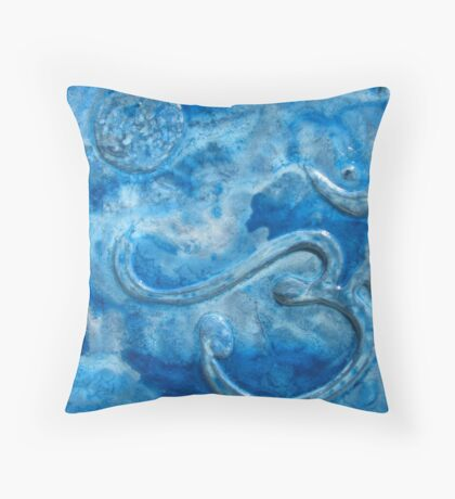 Om blue Throw Pillow