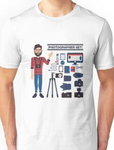 Professional Photographer Set - Cameras, Lenses and Photo Equipment Unisex T-Shirt