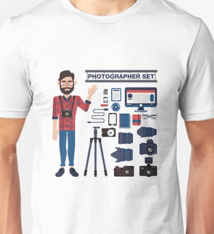 Professional Photographer Set - Cameras, Lenses and Photo Equipment Unisex T-Shirt