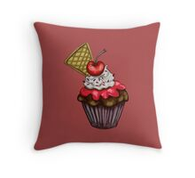 Double Cherry Chocolate Cupcake Throw Pillow