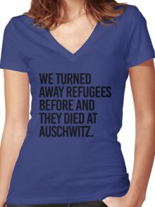 We turned away refugees before and they died at Auschwitz Women's Fitted V-Neck T-Shirt