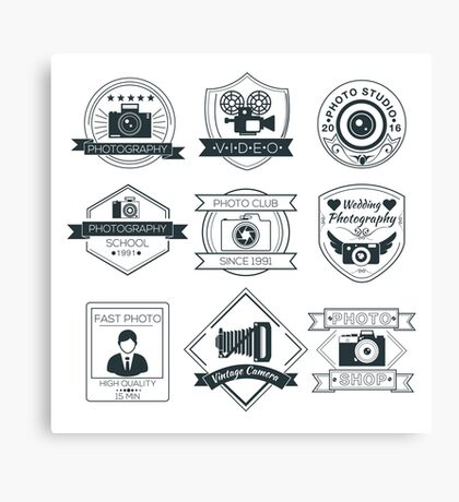 Vector Set of Photography Badges Canvas Print