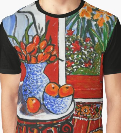 red interior with tropical garden view Graphic T-Shirt