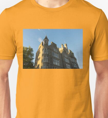 Silver City Architecture - Castlegate Citadel in Aberdeen Highlighted by the Morning Sunshine Unisex T-Shirt