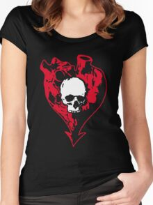 Heart and Skull Women's Fitted Scoop T-Shirt