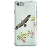 Bird and Pink and Green Flowering Branch on Blue iPhone Case/Skin