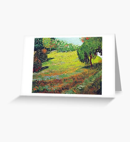 Vincent van Gogh Garden with Weeping Willow Greeting Card