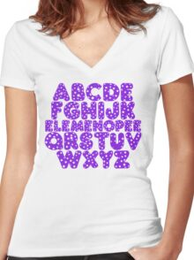 Elemenopee Alphabet Funny Women's Fitted V-Neck T-Shirt
