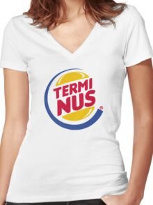 Terminus Burger Women's Fitted V-Neck T-Shirt