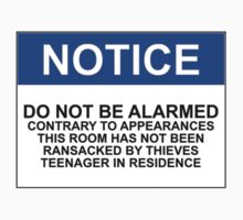 NOTICE: DO NOT BE ALARMED. CONTRARY TO APPEARANCES THIS ROOM HAS NOT BEEN RANSACKED BY THIEVES. TEENAGER IN RESIDENCE by Bundjum