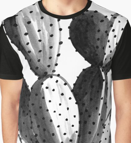 Black and White Cactus Graphic T-Shirt