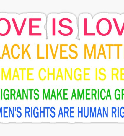 Love is love, Black Lives matter, climate change is real, immigrants make america great, women's rights are human rights Sticker