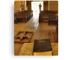 """Cades Cove Missionary Baptist Church: Interior Design""... prints and products Canvas Print"