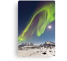 Aurora and full moon Canvas Print