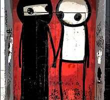 Street art by Stik in the Shoreditch area of London by Tim Constable