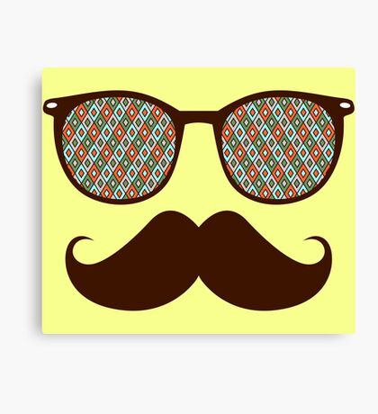 Hipster Glasses And Mustache Canvas Print