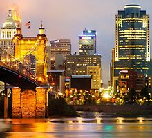 Cincinnati Skyline And The John A. Roebling Suspension Bridge by Gregory Ballos | gregoryballosphoto.com