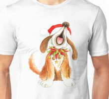 Cute Christmas character dog singing Unisex T-Shirt