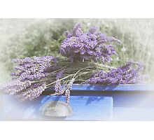 Lavender on table. Photographic Print