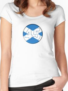 FREE SCOTLAND 45 Button Design Women's Fitted Scoop T-Shirt