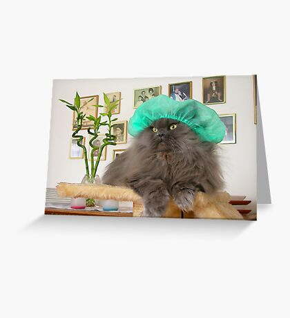 Romeo With Green Surgery Cap Greeting Card