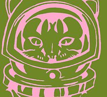 PINK AND OLIVE SPACE CAT SMARTPHONE CASE (Graffiti) by leethompson