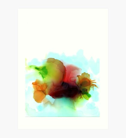 Baby Blue Green Red White - Ink'd Art Print