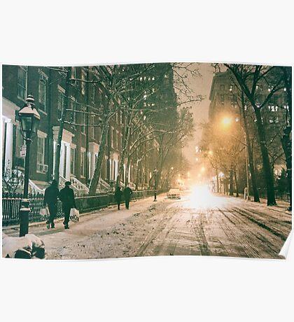 New York City - Winter Night - Snow Falls On Washington Square  Poster