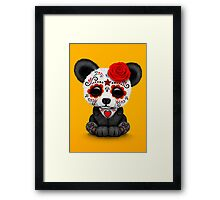 Red Day of the Dead Sugar Skull Panda on Yellow Framed Print