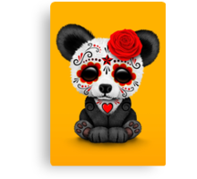 Red Day of the Dead Sugar Skull Panda on Yellow Canvas Print