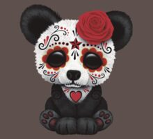 Red Day of the Dead Sugar Skull Panda on Yellow Baby Tee