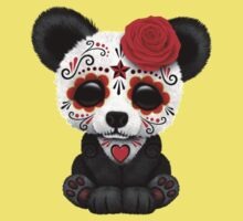 Red Day of the Dead Sugar Skull Panda on Yellow Kids Clothes